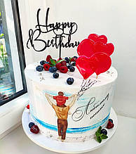 Чорний топпер Happy Birthday на паличці Різні кольори Топпери з пластику Топпери в блискітках Топпери на торт