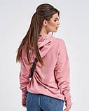 Трикотажная розовая толстовка с капюшоном, фото 2