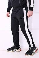 Спортивные штаны черные с белым лампасом ADIDAS