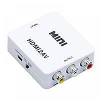 Конвертер HDMI на RCA (AV) CVBS адаптер видео с аудио 1080P HDV-610 AV-001 (4273) White