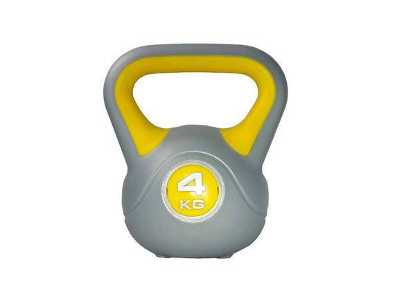 Гиря LiveUp Plastic Kettel Bell 4 кг Grey/Yellow (LS2047-4), фото 2