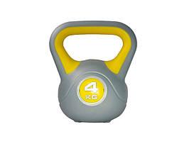Гиря LiveUp Plastic Kettel Bell 4 кг Grey/Yellow (LS2047-4)
