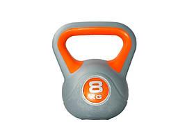 Гиря LiveUp Plastic Kettel Bell 8 кг Grey/Orange (LS2047-8)