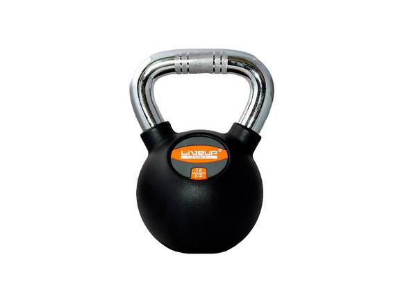 Гиря в резиновой оболочке LiveUp Kettel Dumbell 16 кг Black (LS2044-16), фото 2