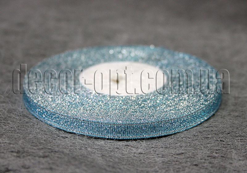 Лента парча голубая 0,6 см 25ярд