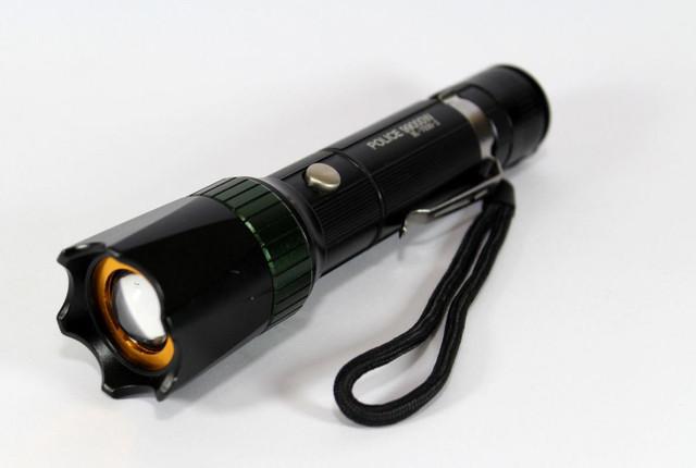 Фонарик аккумуляторный Police 7030-2 + УФ, зарядка 12 / 220V