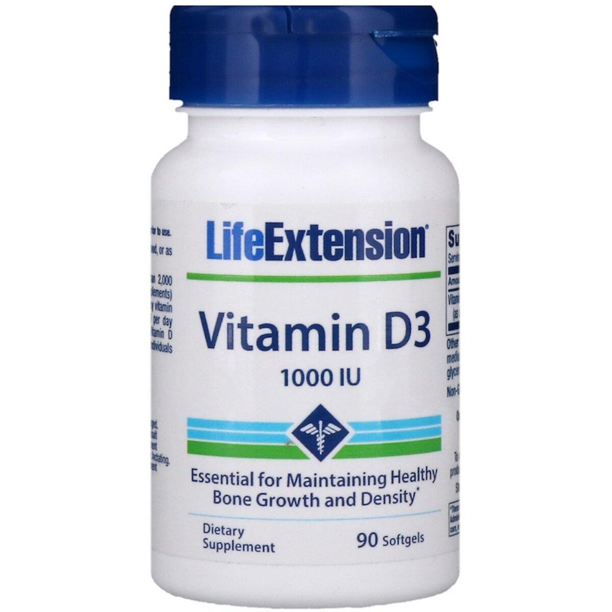 Витамин D3, Vitamin D3, Life Extension, 25 мкг (1000 МЕ), 90 гелевых капсул