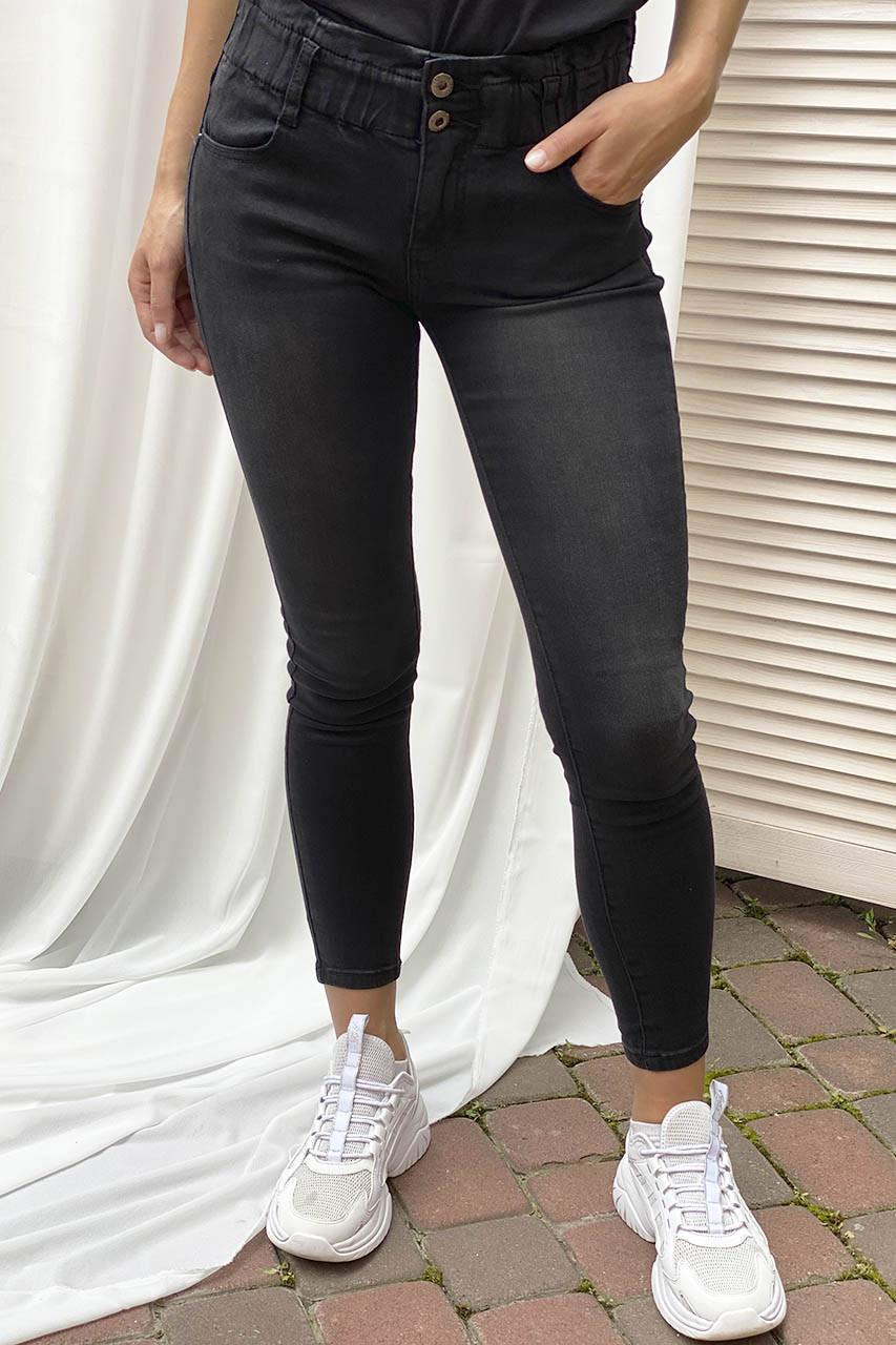 Узкие джинсы на широкой резинке Re-Dress - черный цвет, L (40) (есть размеры)