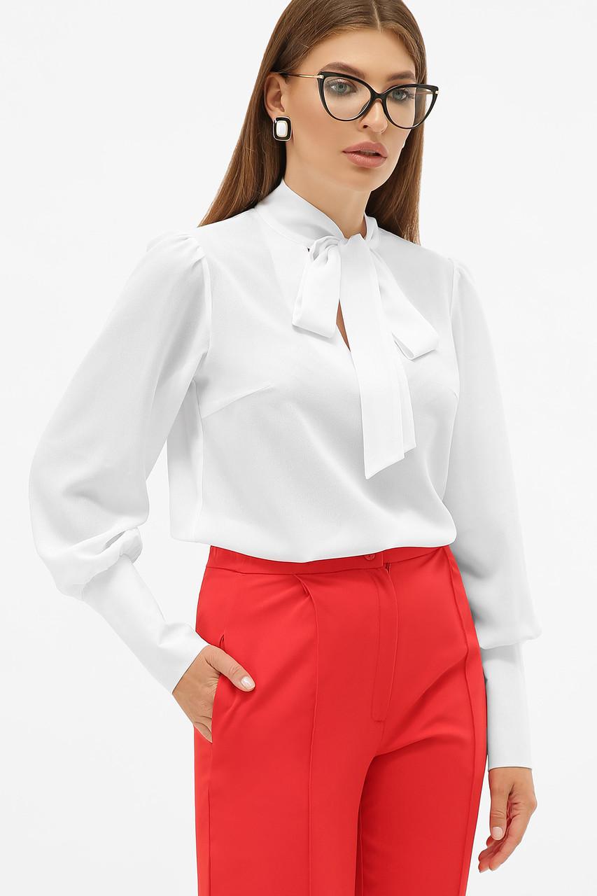 Шифонова біла блуза з бантом Дарла