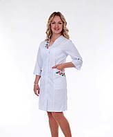 """Медицинский халат женский """"Health Life"""" х/б белый с вышивкой 2161"""