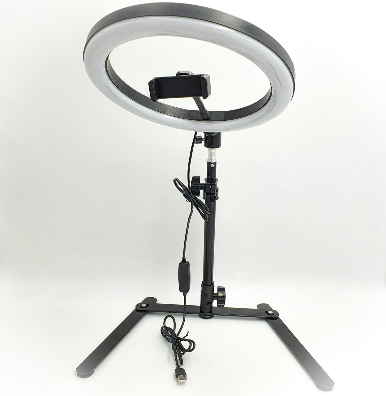 Кольцевая LED лампа 26см 12W настольная с держателем телефона на штативе 25-42 см подсветка кольцо для блогера