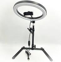 Кольцевая LED лампа 26см 12W настольная с держателем телефона на штативе 25-42 см подсветка кольцо для блогера, фото 1