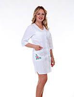 """Медицинский халат женский """"Health Life"""" х/б белый с вышивкой 2163"""