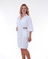 """Медицинский халат женский """"Health Life"""" х/б белый с вышивкой 2164"""