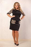 Платье Герда черное, французский трикотаж, карманы эко-кожа, большого размера 48-72, батал