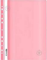 Папка-швидкозшивач А4 з перфорацією, фактура Глянець Economix, пастельна рожева