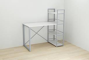 Письменный стол Ferrum-decor Конект c этажеркой 75x120x60 см Бело-серый (XK00193)