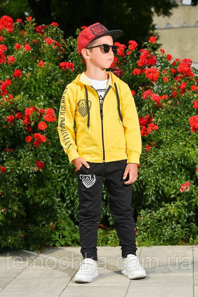 Спортивний дитячий костюм трійка для хлопчика жовтий з чорним Армані