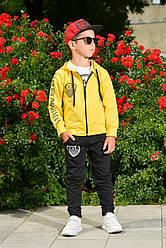 Спортивный детский костюм тройка для мальчика желтый с черным Армани Armani