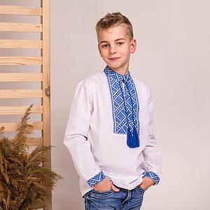 Подростковая вышиванка с синей вышивкой Матвей