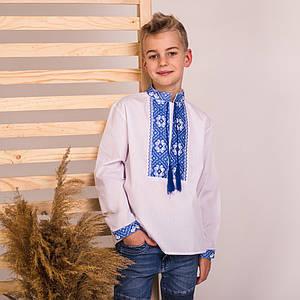 Сорочка вышиванка с голубой вышивкой Дмитрик