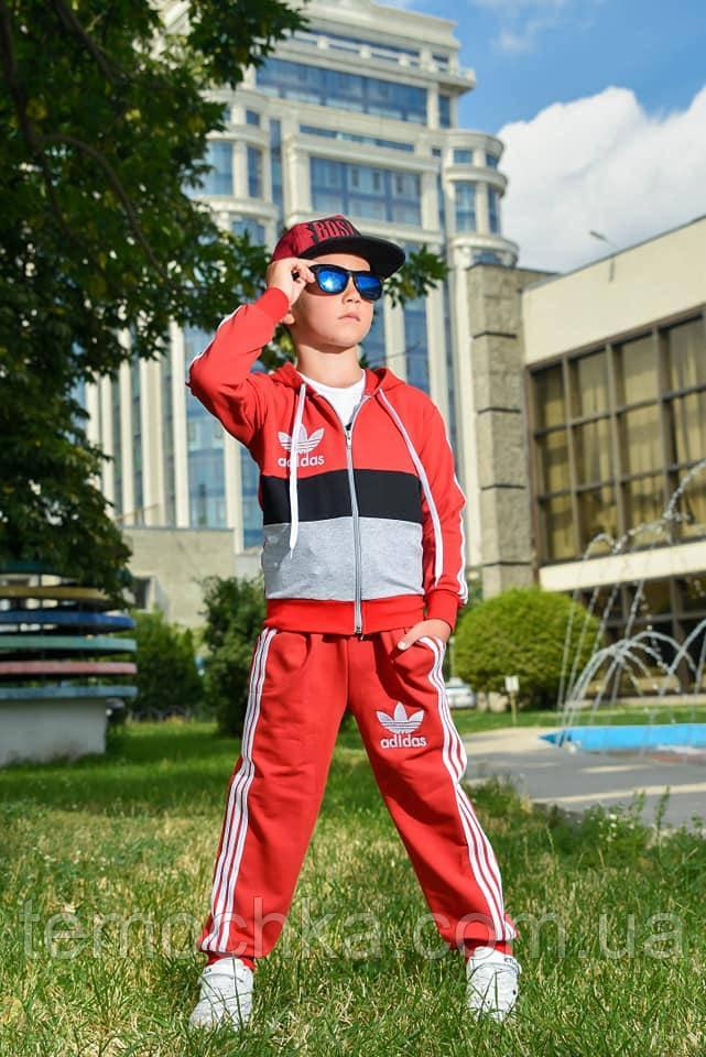 Спортивний дитячий костюм для хлопчика червоний Адідас