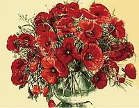 Картина по номерам Красные маки в стеклянной вазе 2 40*50см KHO1076 Розпис по номерах