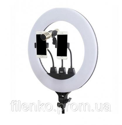 Кільцева люмінесцентна лампа ZB-F348 45 см з пультом і 3 власниками без штатива, фото 2