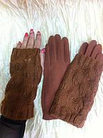 Терракотовые перчатки на  байке с ажурными митенками