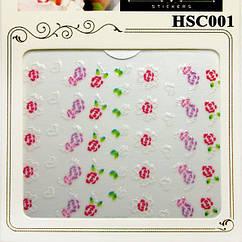 Наклейки для Ногтей Самоклеющиеся 3D HSC001 Цветы Белые, Розовые, Фиолетовые, Зеленые Дизайн Ногтей