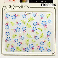 Наклейки для Ногтей Самоклеющиеся 3D Nail Sticrer HSC004 Цветы Желтые, Голубые, Розовые, Слайдер Дизайн