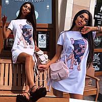 Платье футболка мини женское модное универсальное с ярким принтомSmsa4628