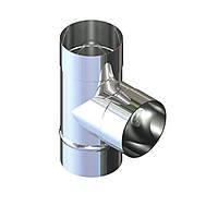 Тройник 87° для дымохода D-130 мм толщина 0,8 мм