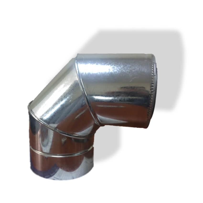 Отвод 90° для дымохода ø 180/250 н/оц 0,6 мм