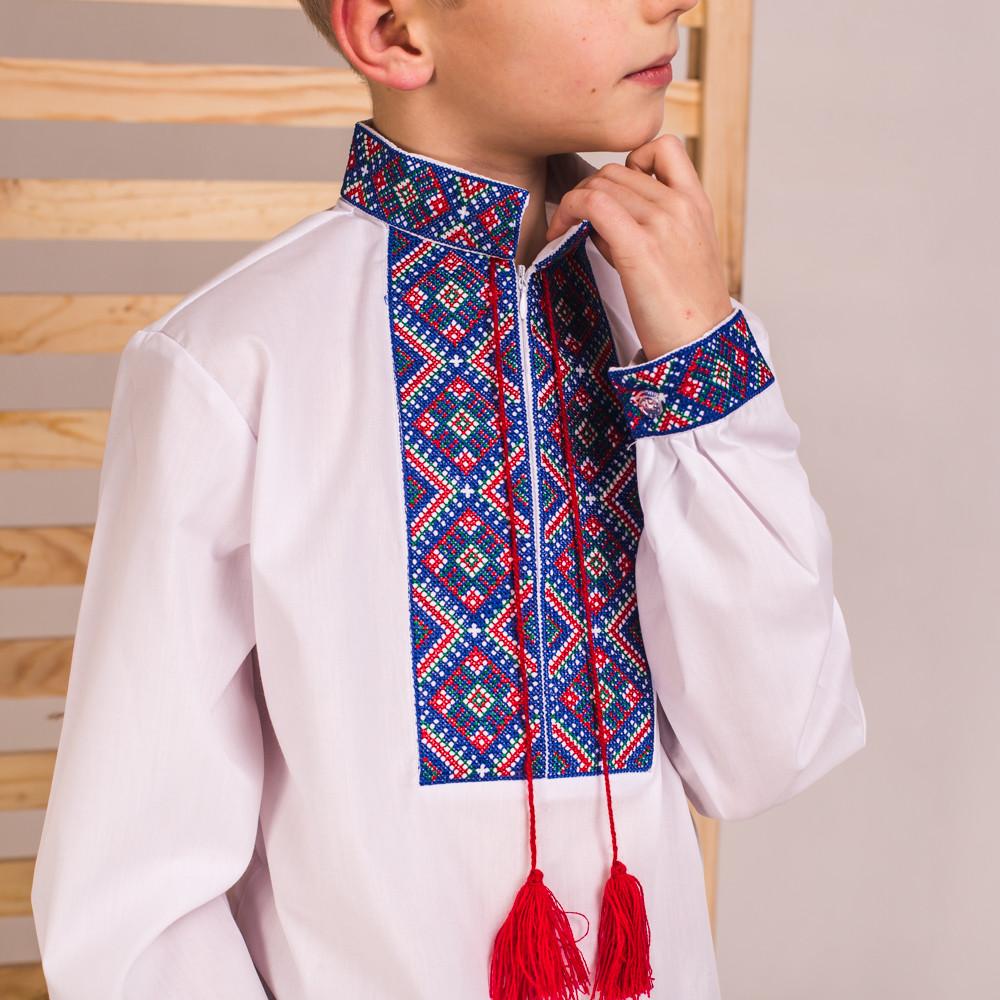 Вышиванка на мальчика Колорит с синей вышивкой