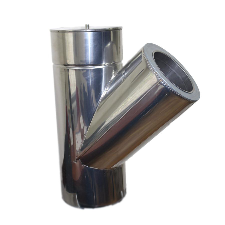 Трійник 45° для димоходу ø 160/220 н/н 0,8 мм