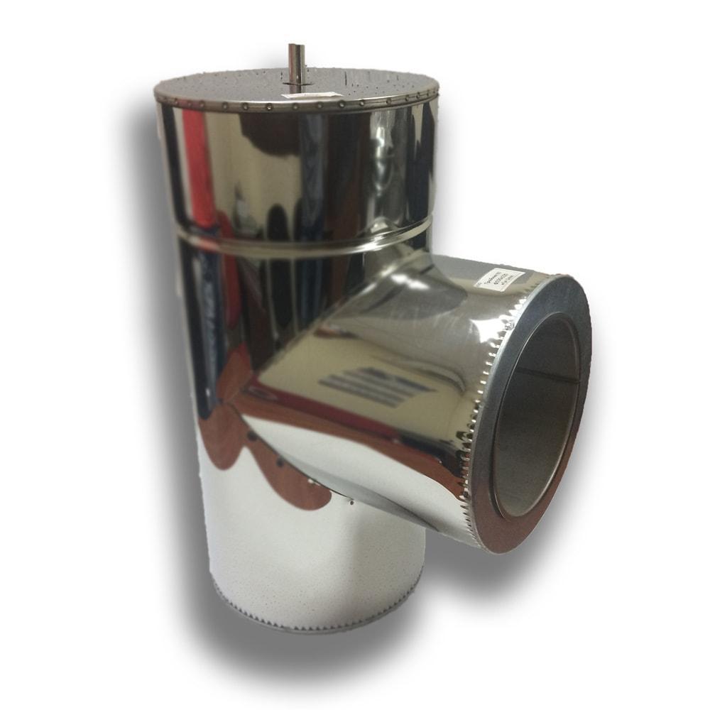 Трійник 87° для димоходу ø 200/260 н/н 0,8 мм