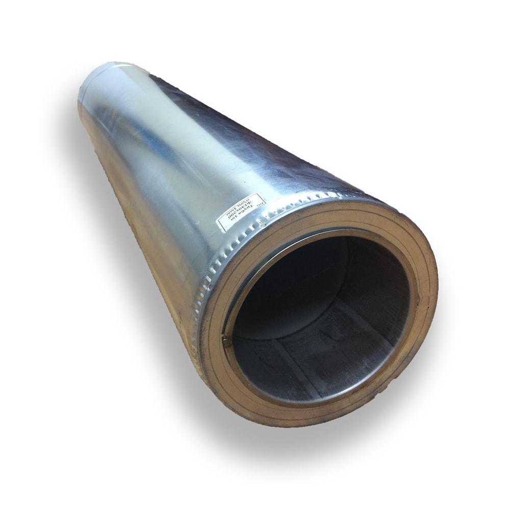 Труба дымоходная нержавейка в оцинковке 1 м ø 220/280  0,8 мм