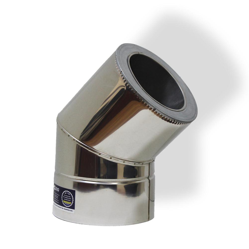 Коліно 45° для димоходу ø 120/180 н/н 0,6 мм