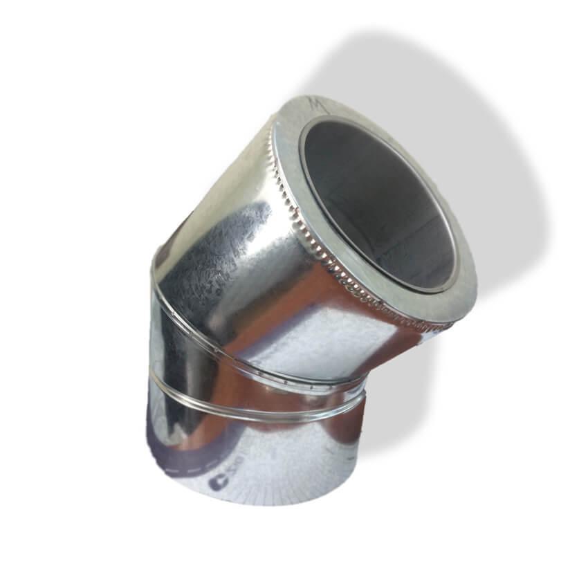 Отвод 45° для дымохода ø 130/200 н/оц 0,8 мм