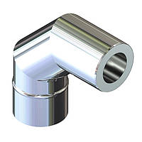 Отвод 90° для дымохода ø 140/200 н/н 0,6 мм