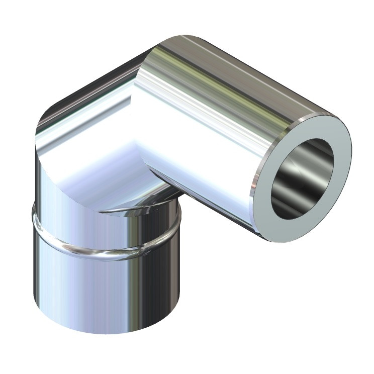 Отвод 90° для дымохода ø 220/280 н/н 0,6 мм