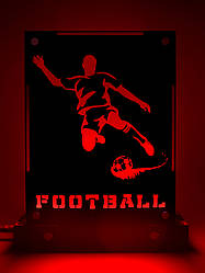 Декоративный настольный ночник Футбол, теневой светильник, несколько подсветок (батарейка+220В)