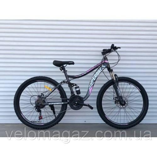 """Велосипед спортивный двухподвесной TopRider-920 26"""" розовый"""