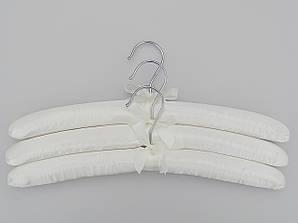 Длина 38 см. Плечики сатиновые мягкие белые, 3 штуки в упаковке