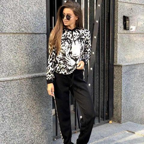 Костюм теплый женский вязаный леопард штаны и кофта с капюшоном