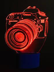 3d-светильник Фотоаппарат, 3д-ночник, несколько подсветок (на батарейке), подарок фотографу