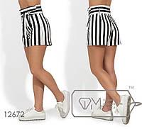 Яркие женские модные коттоновые приталенные шорты с поясом с пояском на завышеной талии (р.42-48). Арт-2659/23