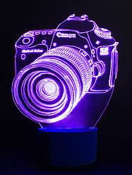3d-светильник Фотоаппарат, 3д-ночник, несколько подсветок (на пульте), подарок начинающему фотографу