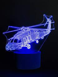 3d-светильник Вертолет, 3д-ночник, несколько подсветок (батарейка+220В)
